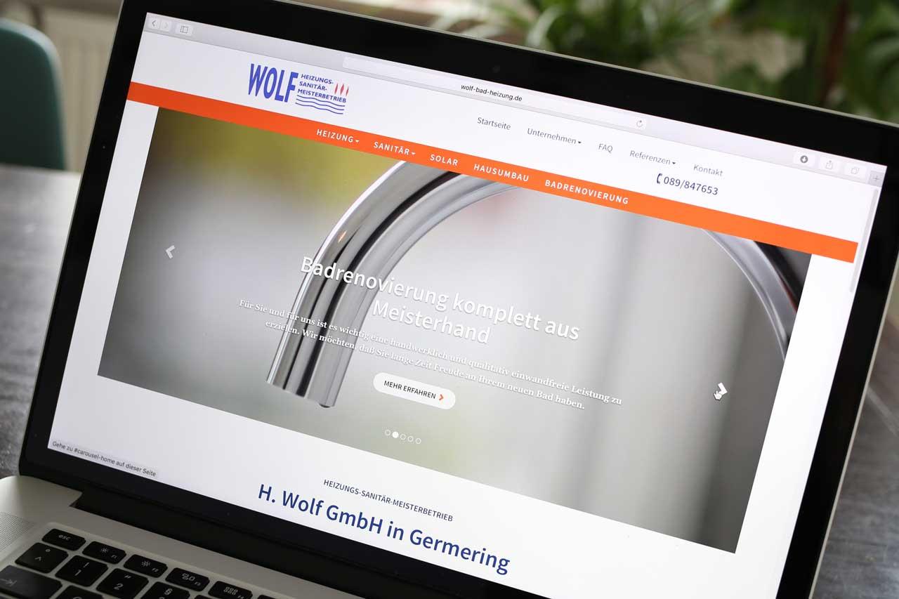 Wolf Heizung Sanitär Meisterbetrieb Website